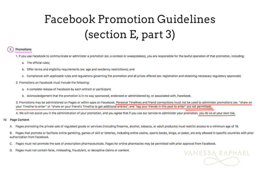 Facebook Promotion Guidelines (section E, part 3)